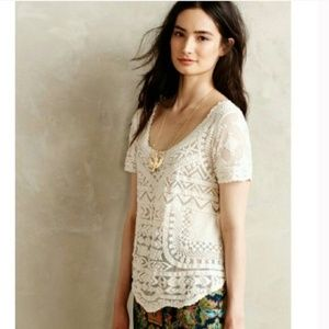Anthropologie Meadow Rue Embroidered Blouse M